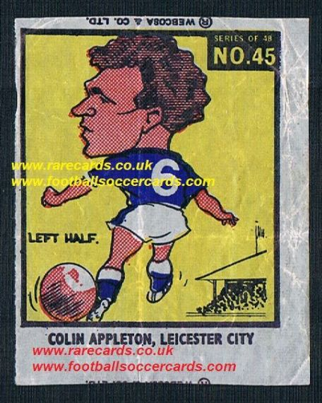 1960 Webcosa Colin Appleton Leicester City original wax paper gum insert